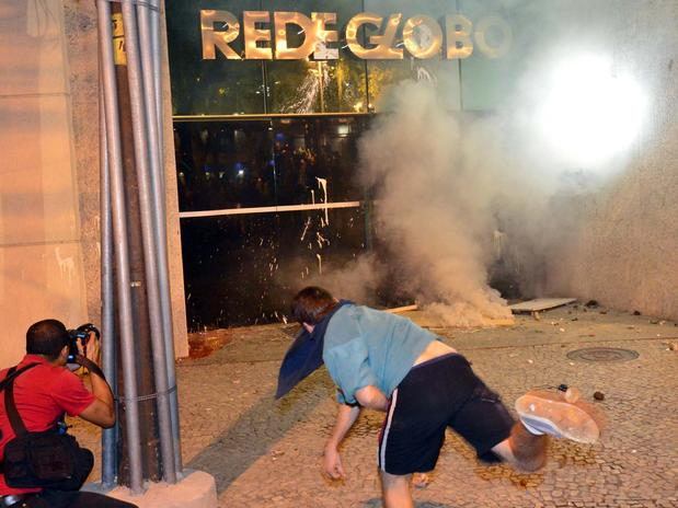 attacking the globo office in Rio